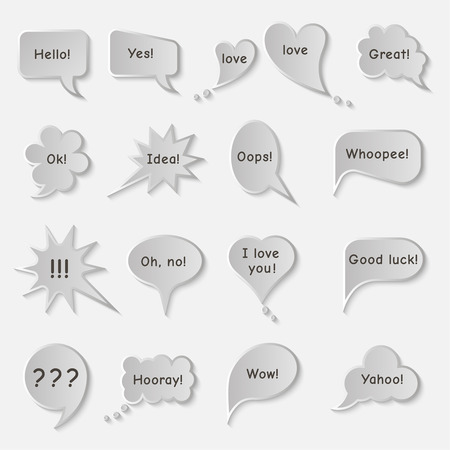 any: Set of simple original speech bubbles with expression of various emotions or with any other text. Vector element of graphic design
