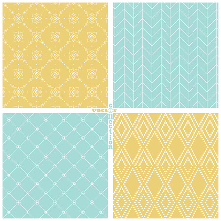 color backgrounds: Seamless pattern. Set of four stylish abstract color backgrounds. Simple original colourful textures with regularly repeating geometrical shapes. Vector element of graphic design Illustration