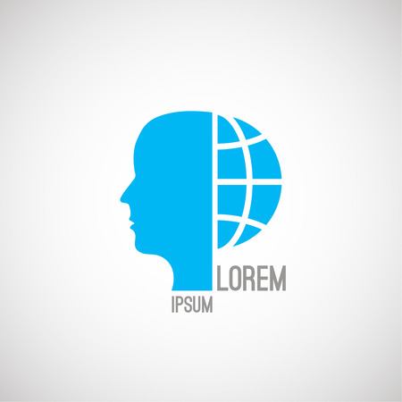 computerization: Silhouette of the human head and a half the globe. Futuristic logo. Vector element of graphic design