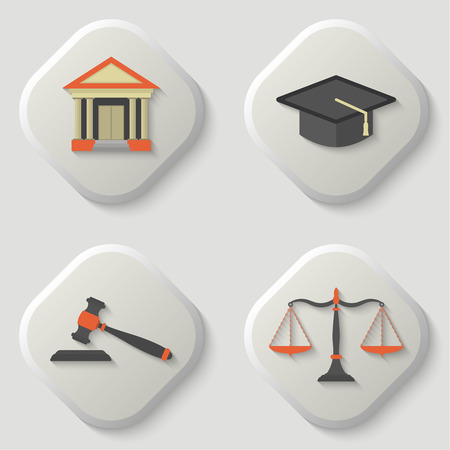 Set of icons of a judicial subject. Judge hat icon. Scales of Justice icon. Weight balance. Gavel icon. Auction hammer. Court house icon. Flat. Vector element of graphic design