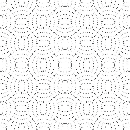 arcs: Seamless pattern. Abstract ornamental background. Modern trendy texture with regularly repeating geometrical shapes, small dots, dotted arcs, waves. Vector element of graphical design Illustration