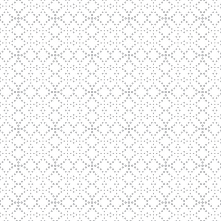 Seamless pattern. Abstract textured background. Stylish geometrical texture with repeating small dots, dotted rhombuses, crossed circles. Vector element of graphical design