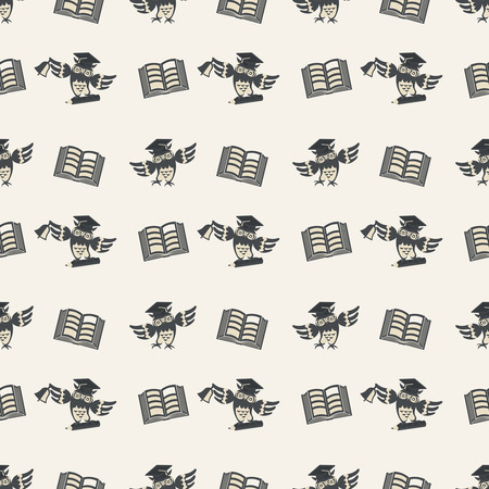 erudition: Seamless pattern. School, graduation and educational texture. Pattern with repeating owls and books. Concept of education, knowledge, wisdom and erudition.