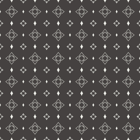 regularly: Seamless pattern. Abstract ornamental background. Black and white texture with regularly repeating geometrical, shapes, hearts, rhombuses.