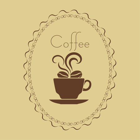 time frame: Coffee cup with beans in a frame. Concept of a break and rest. Time to coffee break. Vector element of graphical design