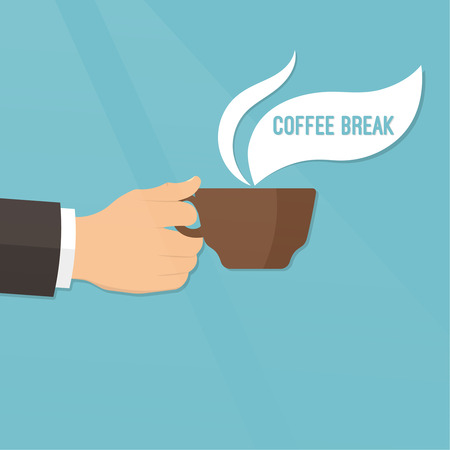 joyfulness: Hand with a coffee cup on a radiant background. Concept of a break and rest. Time to coffee break. Vector element of graphical design Illustration