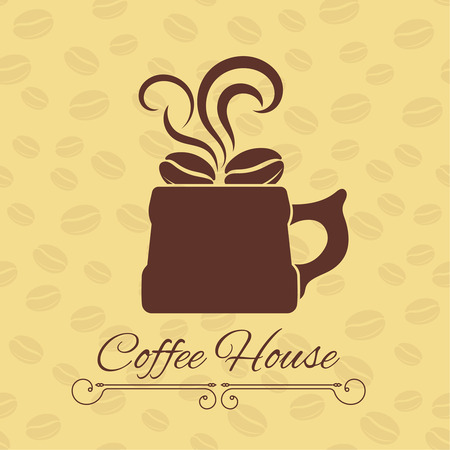 gentle background: Coffee house concept. Coffee cup with grains on a gentle background with coffee beans and divider. Vector element of graphical design Illustration