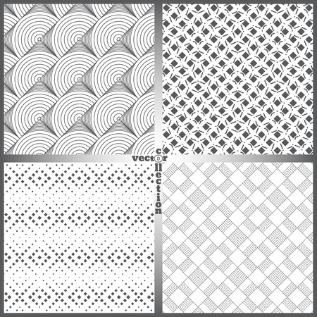 original circular abstract: Seamless pattern. Set of four abstract textured backgrounds. Modern stylish textures. Regularly repeating geometrical ornaments. Vector element of graphical design Illustration