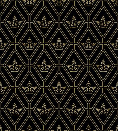 Vector naadloos patroon. Luxe koninklijke textuur met het herhalen van kronen en ruiten. Patroon kan worden gebruikt als achtergrond, behang, omhulsel of een element van de decoratie, overladen stijl Stock Illustratie