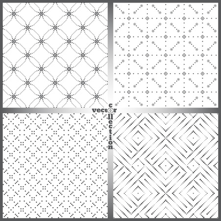 textured backgrounds: Seamless pattern. Set of four abstract textured backgrounds. Modern stylish textures. Regularly repeating geometrical ornaments. Vector element of graphical design Illustration