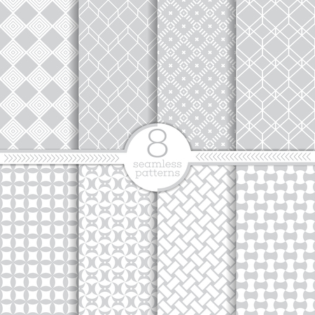 Seamless pattern. Set of eight abstract textured backgrounds. Modern stylish textures. Regularly repeating geometrical ornaments with different shapes. Vector element of graphical design