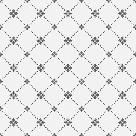 Seamless pattern. Abstract textured background. Modern stylish texture with small dots and flowers. Regularly repeating geometrical shapes, dotted rhombuses. Vector element of graphic design