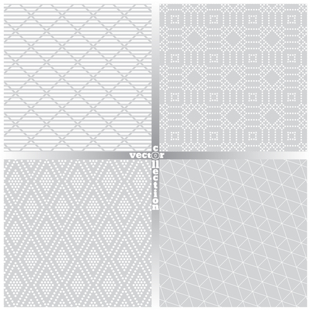 Seamless pattern. Set of four abstract textured backgrounds. Modern stylish textures. Regularly repeating geometrical ornaments. Hexagon. Line. Dot. Rhombus. Vector element of graphical design Ilustração