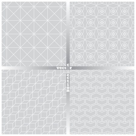 Seamless pattern. Set of four abstract textured backgrounds. Modern stylish textures. Regularly repeating geometrical ornaments. Hexagon. Rhombus. Star. Polygon. Vector element of graphical design Ilustração