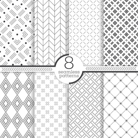 Nahtlose Muster. Set von acht abstrakte strukturierte Hintergründe. Moderne stilvolle Texturen. Regelmäßig wiederholenden geometrischen Ornamenten mit verschiedenen Formen. Vector Element der grafischen Design- Vektorgrafik