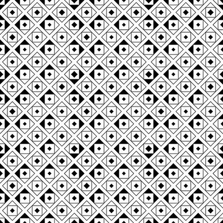 chaotically: Seamless pattern. Abstract original geometrical background. Stylish simple texture with chaotically repeating triangles, rhombuses, squares. Vector element of graphical design Illustration