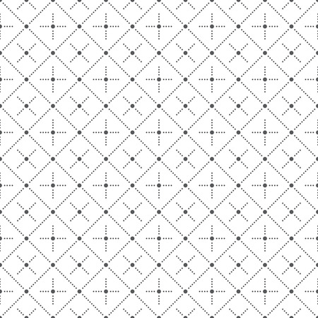 Seamless pattern. Abstract geometrical background. Modern stylish texture with small dots. Regularly repeating dotted rhombuses and crosses. Vector element of graphical design
