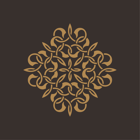curving lines: Circular pattern in arabic style. Round eastern ornament with intersecting curving lines. Vector element of graphic design Illustration