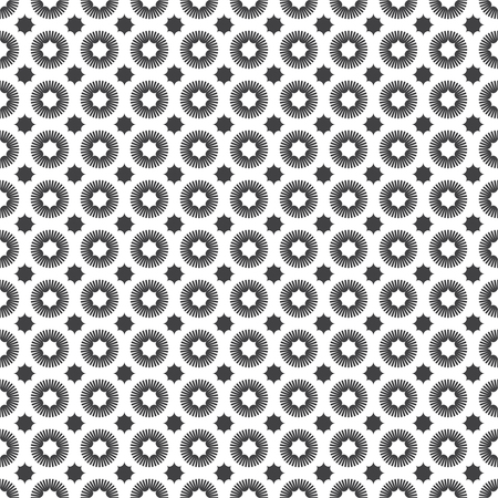 regularly: Seamless pattern. Abstract geometrical background. Retro stylish texture.  Regularly repeating geometric ornament with corrugated circles and stars. Vector element of graphical design Illustration