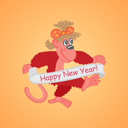 gentle background: Cartoon monkey on a gentle background. 2016 New Year Symbol. Design by new year, year of a monkey. Vector element of graphic design