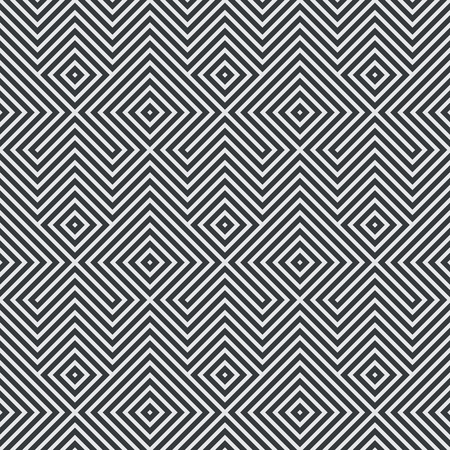 centric: Seamless pattern. Abstract striped textured background. Stylish monochrome texture. Regularly repeating geometrical ornament with  zigzags lines, rhombuses. Vector element of graphic design Illustration