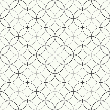 circles pattern: Seamless pattern. Abstract geometrical background. Modern stylish texture. Regularly repeating elegant ornament with intersecting outline circles and rhombuses. Vector element of graphical design