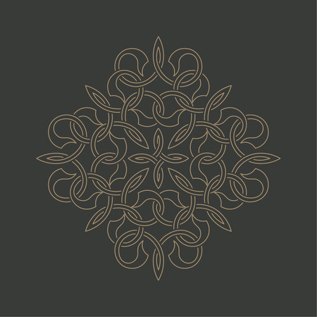 curving lines: Circular pattern in arabic style. Round ornament with intersecting curving lines. Vector element of graphic design