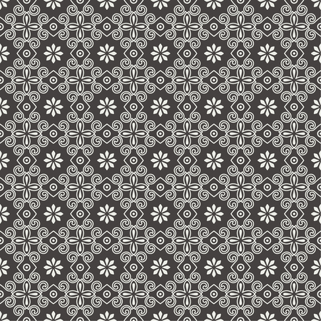 Vector seamless pattern. Luxury elegant texture with spiral elements and flowers. Pattern can be used as a background, wallpaper, wrapper, page fill, element of ornate decoration