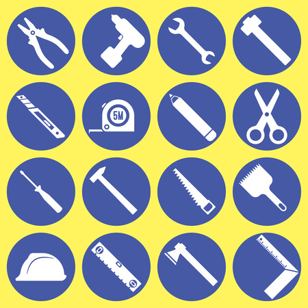 Hand tools icon set. Drill, screwdriver, brush, scissors, hammer, saw, wrench, spanner, ruler, pencil, axe, pliers, knife, roulette, helmet, level. Vector element of graphical design Ilustração