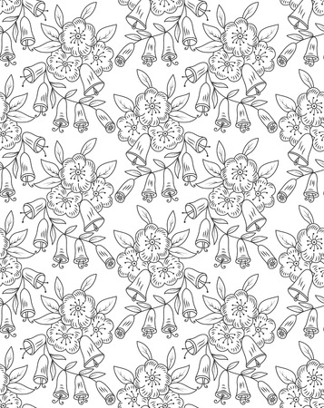 hand bells: Vector seamless pattern. Repeating floral texture with flowers leaves and hand bells.  Pattern can be used as background, fabric print, surface texture, wrapping paper, web page backdrop, wallpaper Illustration
