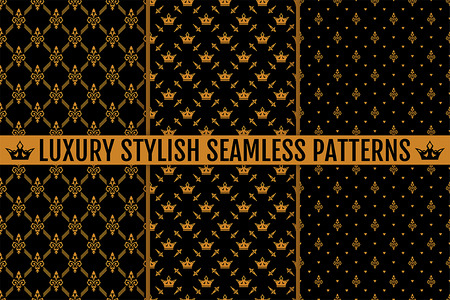 gold textures: Vector seamless pattern. Set of three luxury stylish gold textures. Patterns can be used as background, fabric print, surface texture, wrapping paper, web page backdrop, wallpaper and more
