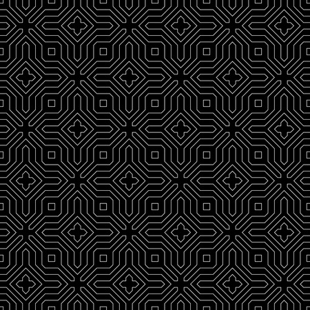 centric: Seamless pattern. Abstract monochrome background. Modern stylish texture with thin lines. Regularly repeating geometrical ornament with polygonal linear shapes. Vector element of graphic design
