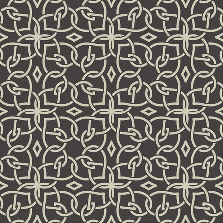 fabric art: Seamless pattern in arabic style. Abstract background. Islamic texture. Repeating tiles with intersecting curving lines. Vector element of graphic design Illustration