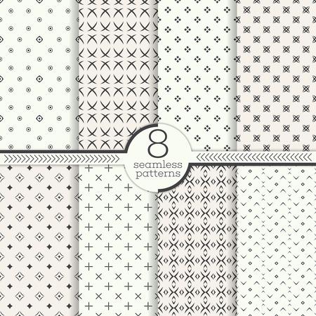 sencillo: Patrón sin fisuras. Conjunto de ocho fondos geométricos abstractos. texturas de estilo moderno. Regularmente repitiendo elegantes adornos con formas diferentes. vector elemento de diseño gráfico