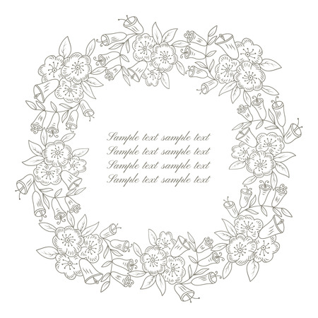invitation frame: Round floral ornate frame with place for text. Stylish invitation card. Elegant greeting card. Vector element of graphic design Illustration