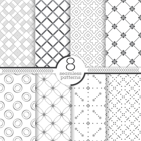 background tile: Seamless patterns set. Modern stylish textures. Regularly repeating elegant geometric ornaments. Rhombus. Cross. Dot. Vector element of graphical design