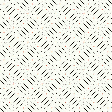 regularly: Seamless pattern. Abstract ornamental background. Modern trendy texture with regularly repeating geometrical shapes, small dots, dotted arcs, waves. Vector element of graphical design Illustration