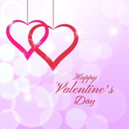 Resumen de fondo con manchas borroneada y corazones. Feliz día de San Valentín.