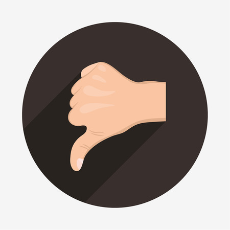 thumbs down: Realistic hand with thumbs down icon with long shadow.
