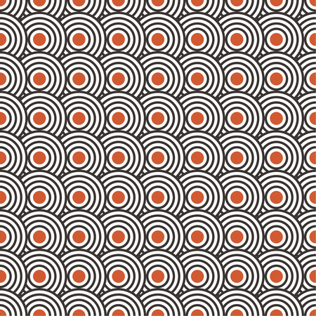 Art deco seamless pattern. Modern stylish texture with regularly repeating geometrical shapes, circles, dots. Ilustração