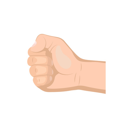 Realistic hand with clenched fist isolated on a white background. Flat design Illustration