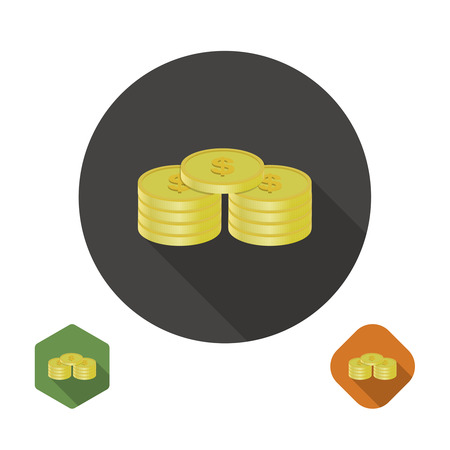 Coins dollar icon illustration for your design. Vector Illustration