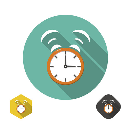 wake up call: Alarm clock icon with long shadow. Flat design