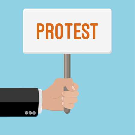 protest design: Realistic hand with clenched fist and plate ptotest. Flat design. Fist of revolution and protest. Agitation concept. Hand up. Vector design element