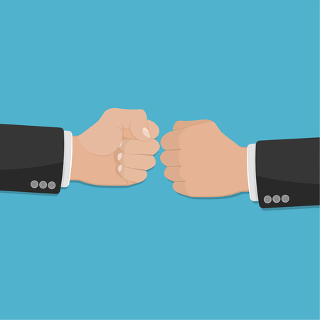 Two clenched fists in air punching. Vector illustration with two hands. Business conflict. Business greeting. Business agreement