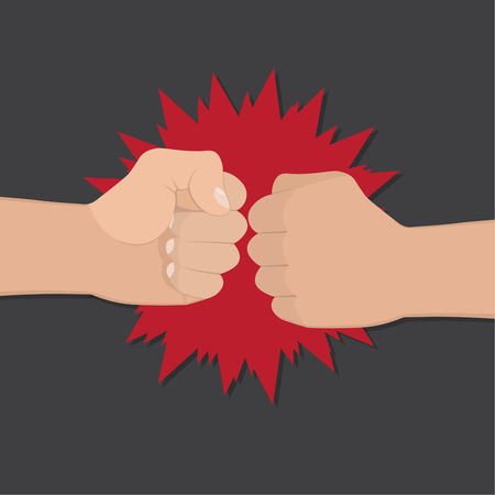 bump: Two clenched fists in air punching. Vector illustration with two hands. Concept of aggression and violence. War conflict Illustration