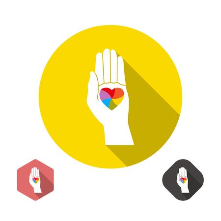 homosexual sex: Icon with a symbol of homosexuals. A palm with the heart painted in colors of a rainbow.