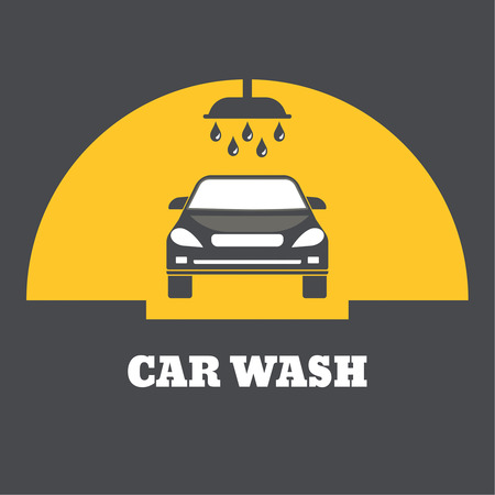 the substrate: Car sink badge. A shower with water drops, flowing on the car on a yellow background with a black substrate.