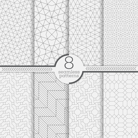 geometricos: Conjunto de patrones sin fisuras. texturas de estilo moderno. Fondo geométrico abstracto. textura lineal original con la repetición de líneas discontinuas delgadas, polígonos, formas poligonales difíciles Vectores