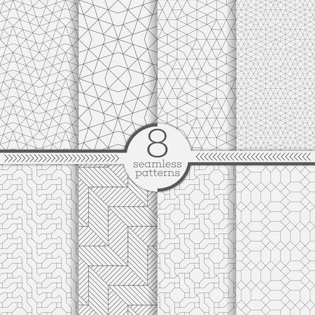 Set von nahtlosen Mustern. Moderne stilvolle Texturen. Abstrakte geometrische Hintergrund. Ursprüngliche lineare Textur mit sich wiederholenden dünnen gestrichelten Linien, Polygone, schwierig polygonale Formen